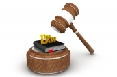 Gavel & books with 'the law'