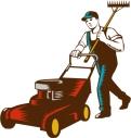 gardener-with-lawnmower-and-rake